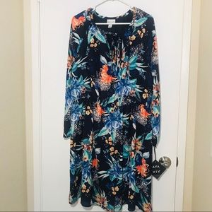 AVA & VIV Blue Multi Floral Dress Sz. 1X NEW